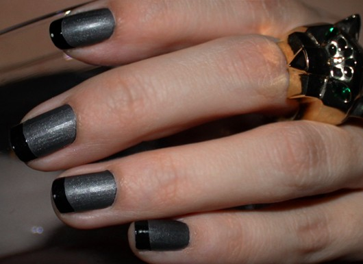 ManGlaze Matte Is Murder Black Matte Nail Polish Shiny French Tips Manicure