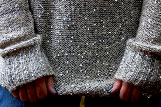 BB Dakota Long Silver Sequin Sweater