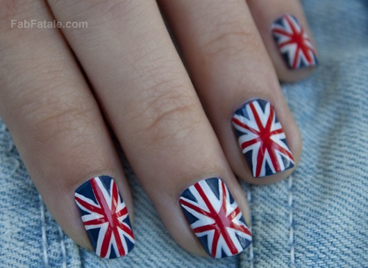 British Flag Union Jack Manicure Nails