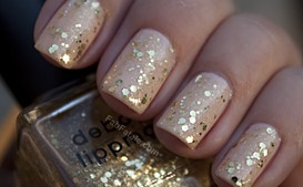 Nude Gold Glitter Nail Polish