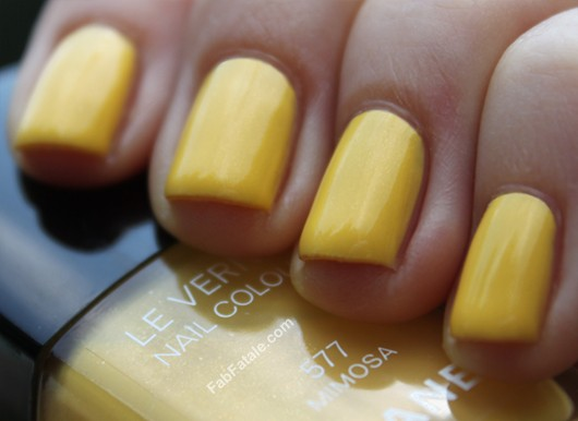 Chanel Mimosa Dupe Comparison Yellow Shimmer Creme Nail Polish