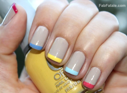 Multi Colored Pastel French Tips Manicure