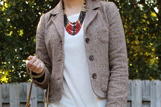 Beaded Necklace Tweed Jacket Riding Boots