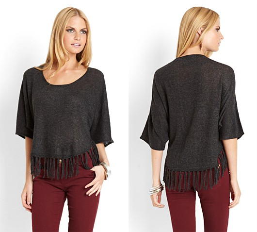Black Gray Fringe Sweater Top