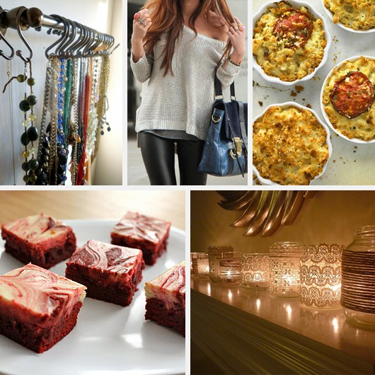 DIY Necklace Rack Leather Skinny Pants Leggings Macaroni and Cheese Red Velvet Cheesecake Brownies Lace Votives Candleholders