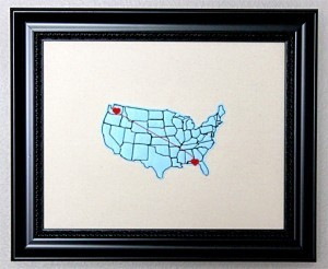 Map Hearts Stitched Country Framed