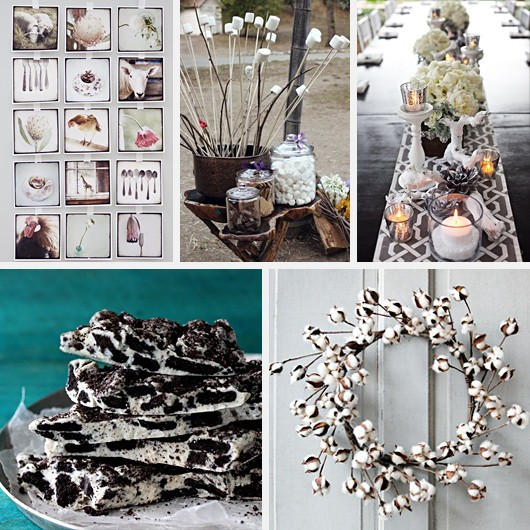 S'Mores Station Instagram Wall Art Cotton Wreath Winter Tablescape Oreo Chocolate Bark