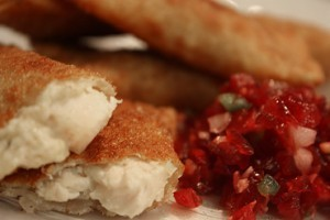 Thanksgiving Leftover Won Tons & Cranberry Salsa Recipe
