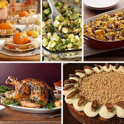 Thanksgiving Tablescape Stuffing Turkey Oven Roasted Brussel Sprouts Pumpkin Cheesecake