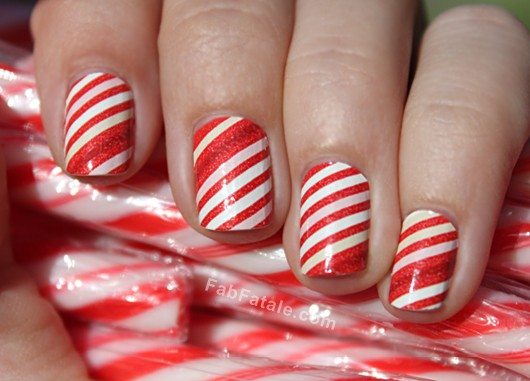 Candy Cane Manicure Nails - Sally Hansen Salon Effects