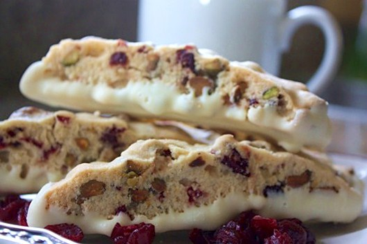 Holiday Cranberry Pistachio Biscotti