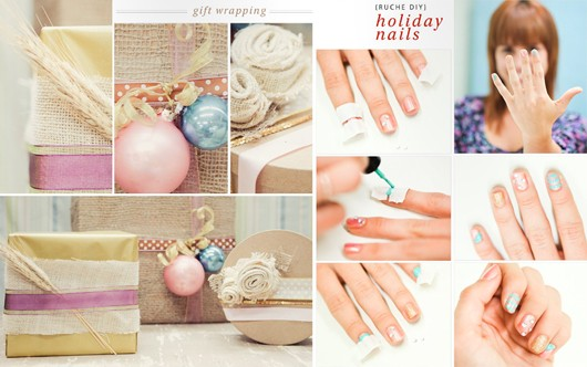 Holiday Nails Manicure Burlap Gift Wrapping