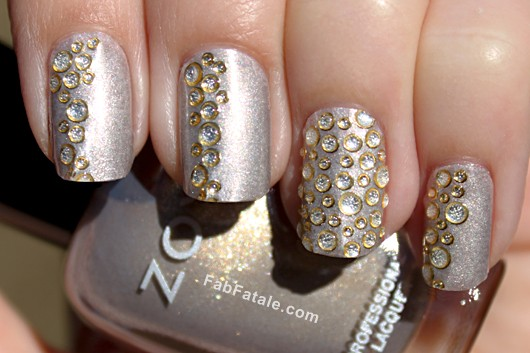New Years Eve Crystal Embellished Manicure Nails
