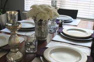 Silver White Purple Winter Tablescape