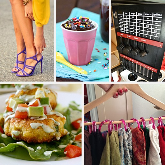 Mustard Yellow Dress Plum Purple Heels ColorBlocking Hot Fudge Recipe Corn Cakes Avacado Scarf Hanger Organizer DIY
