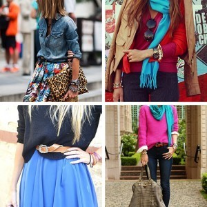 Color Fashion Leopard Scarf Chambray Top