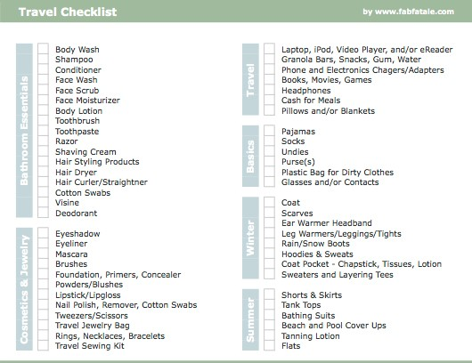 Travel Checklist  Fab Fatale