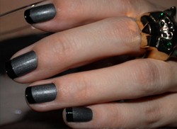 Black Matte Nail Polish Shiny French Tips