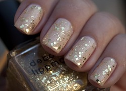 Deborah Lippmann Boom Boom Pow Gold Glitter Sequin Pink Nail Polish