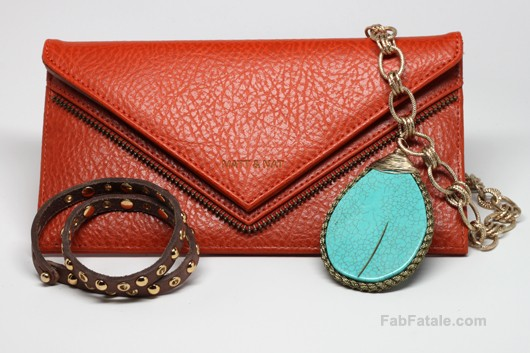 Little Black Bag Review - Orange Matt and Nat Wallet, Brown Linea Pelle Studded Wrap Bracelet, Turquoise Necklace