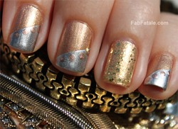 Mixed Metals Manicure Silver Gold Nails