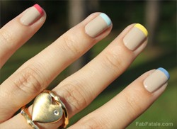Multi Colored Pastel French Tips Nails Manicure