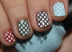 Multi Colored Rainbow Polka Dot Nails Manicure