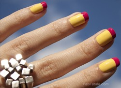 Yellow Creme Nail Polish Pink French Tips