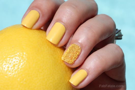 Caviar Nails Manicure Tutorial DIY - Lemon Lime Manicure Mondays Revlon Electric Yellow Shimmer Creme Nail Polish