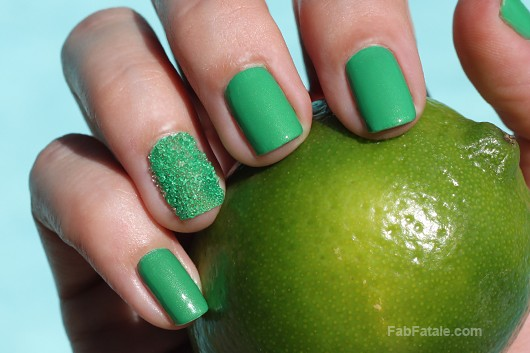 Caviar Nails Manicure Tutorial DIY - Lemon Lime Manicure Mondays Julep Leah Green Creme Nail Polish