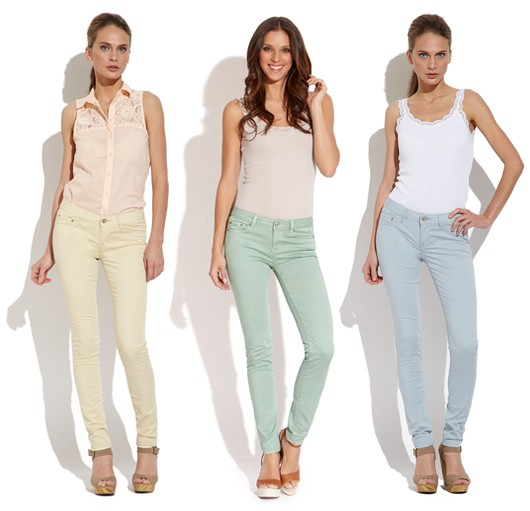 Pastel Skinny Jeans - Yellow Light Blue MintGreen