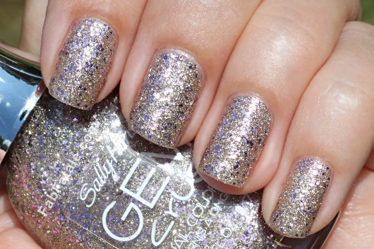 Sally Hansen Gem Crush Swatches - Big Money Gilver Gold Silver Purple Glitter Nail Polish