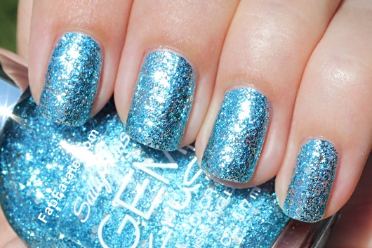 Sally Hansen Gem Crush Swatches - Bling-tastic Blue Silver Glitter Nail Polish