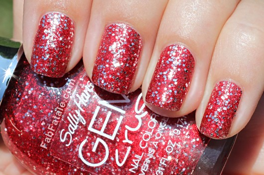 Sally Hansen Gem Crush Swatches - Cha-Ching! Red and Silver Glitter Nail Polish