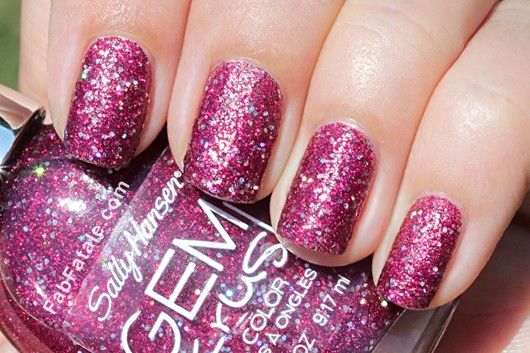 Sally Hansen Gem Crush Swatches - Lady Luck Purple Pink Glitter Nail Polish
