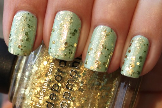 Deborah Lippman Boom Boom Pow Gold Sequin Glitter Mint Green Nail Polish