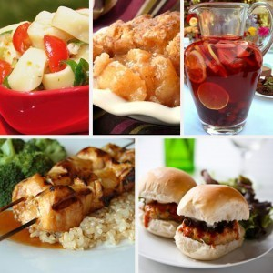 Memorial Day Spinach Tortellini Salad Blueberry Sangria Recipe Southern Peach Cobbler Buffalo Chicken Sliders Hawaiian Chicken Kabobs