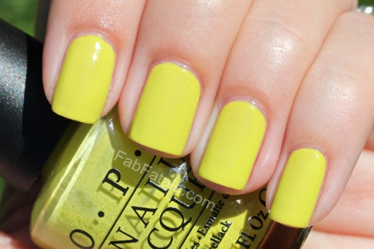 Nicki Minaj OPI Collection Swatches Did It On 'Em Yellow Green Creme Nail Polish