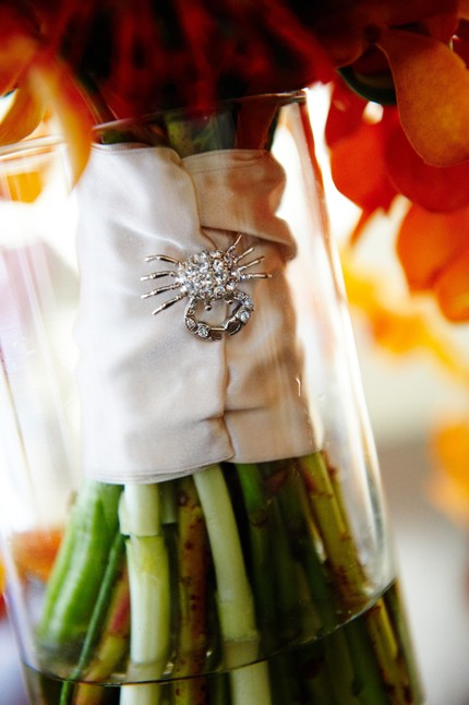 Beach Wedding Bouquet - Orange Orchids and Crystal Crab Brooch