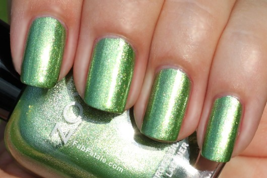 Zoya Beach Surf Swatches Meg Green Foil Nail Polish
