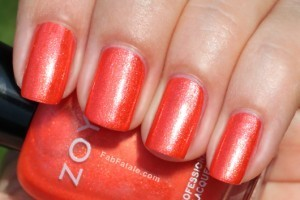 Zoya Beach Surf Swatches Myrta Orange Shimmer Nail Polish