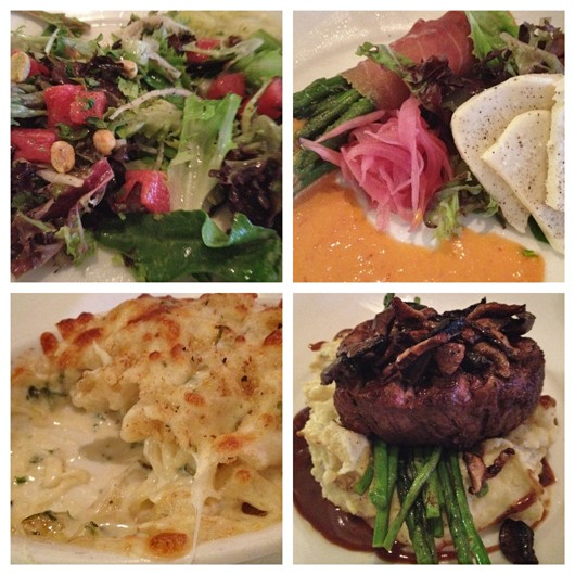 watermelon and cucumber salad with a cilantro lime vinaigrette, prosciutto wrapped asparagus with a side of mozzarella slices, alfredo macaroni and cheese, and filet over horseradish mashed potatoes and asparagus, topped with grilled onions and mushrooms