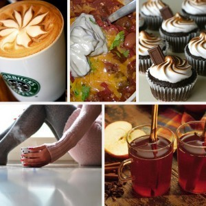 Fall Favorites Starbucks Slow Cooker Chili S'mores Cupcakes Sweater Knit Leggings Apple Cider Recipe