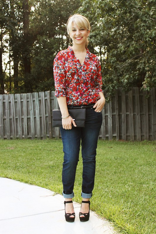 Red Floral Wrap Blouse