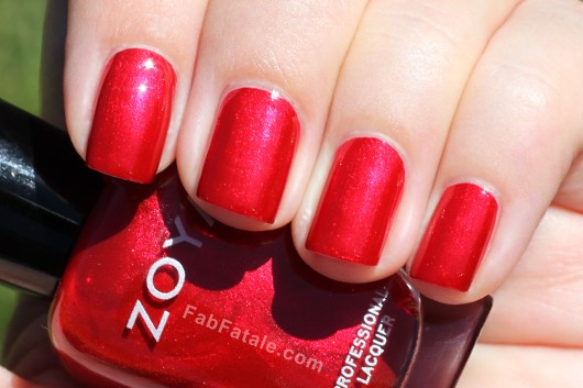 Zoya Elisa Swatch - Red Shimmer Nail Polish