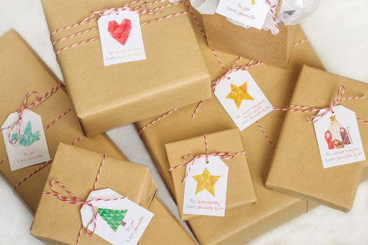 Gift Wrap Ideas - Kraft Paper, Red and White Baker's Twine