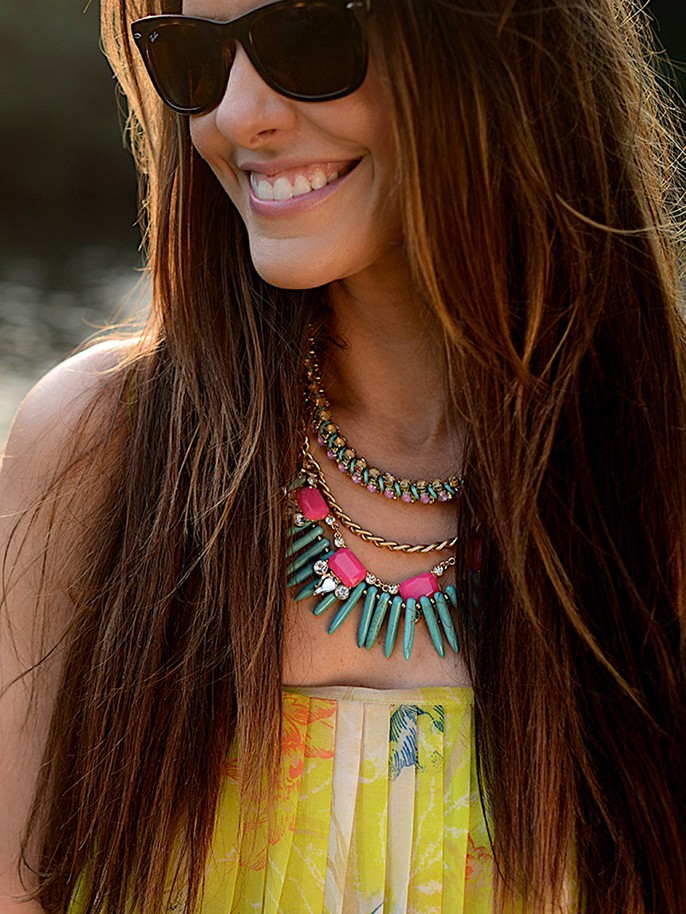 Neon Alaqua Bib Necklace