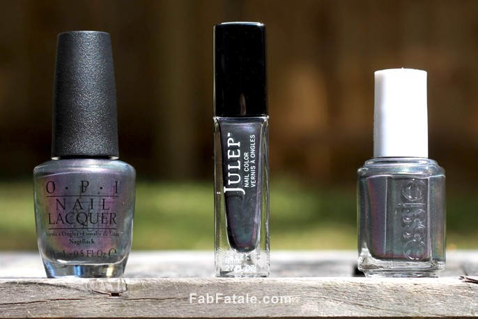 Essie's For The Twill Of It vs. Julep Blakely vs. Peace & Love & OPI - Fab Fatale