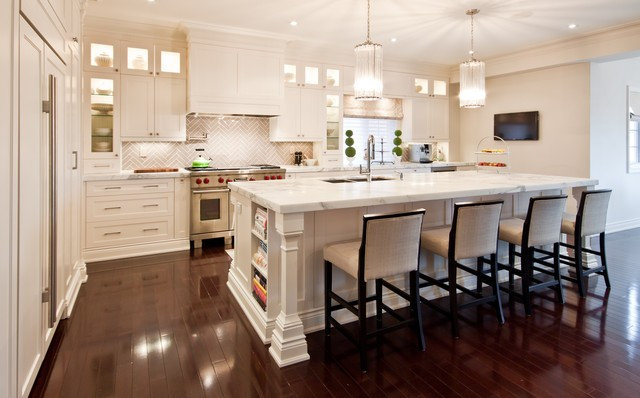 Kitchen Herringbone Backsplash Bar Stools Sconce Chandeliers