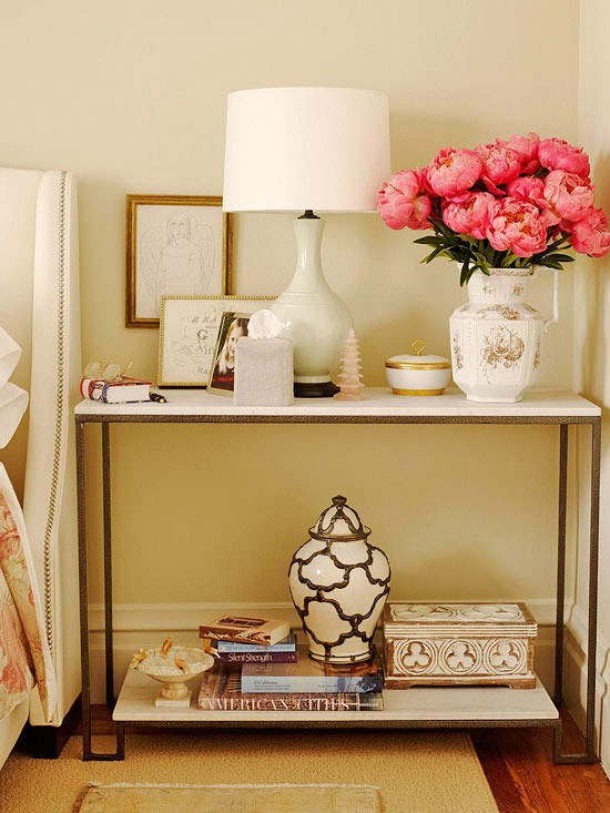 Room by room inspiration series chic office space fab - Bedside tables small spaces decor ...